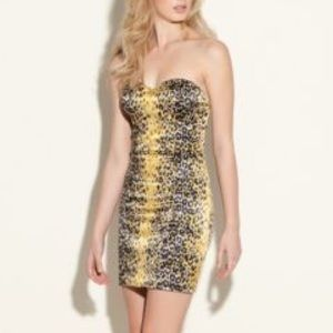 Guess Size 6 Vivian Leopard Strapless Dress